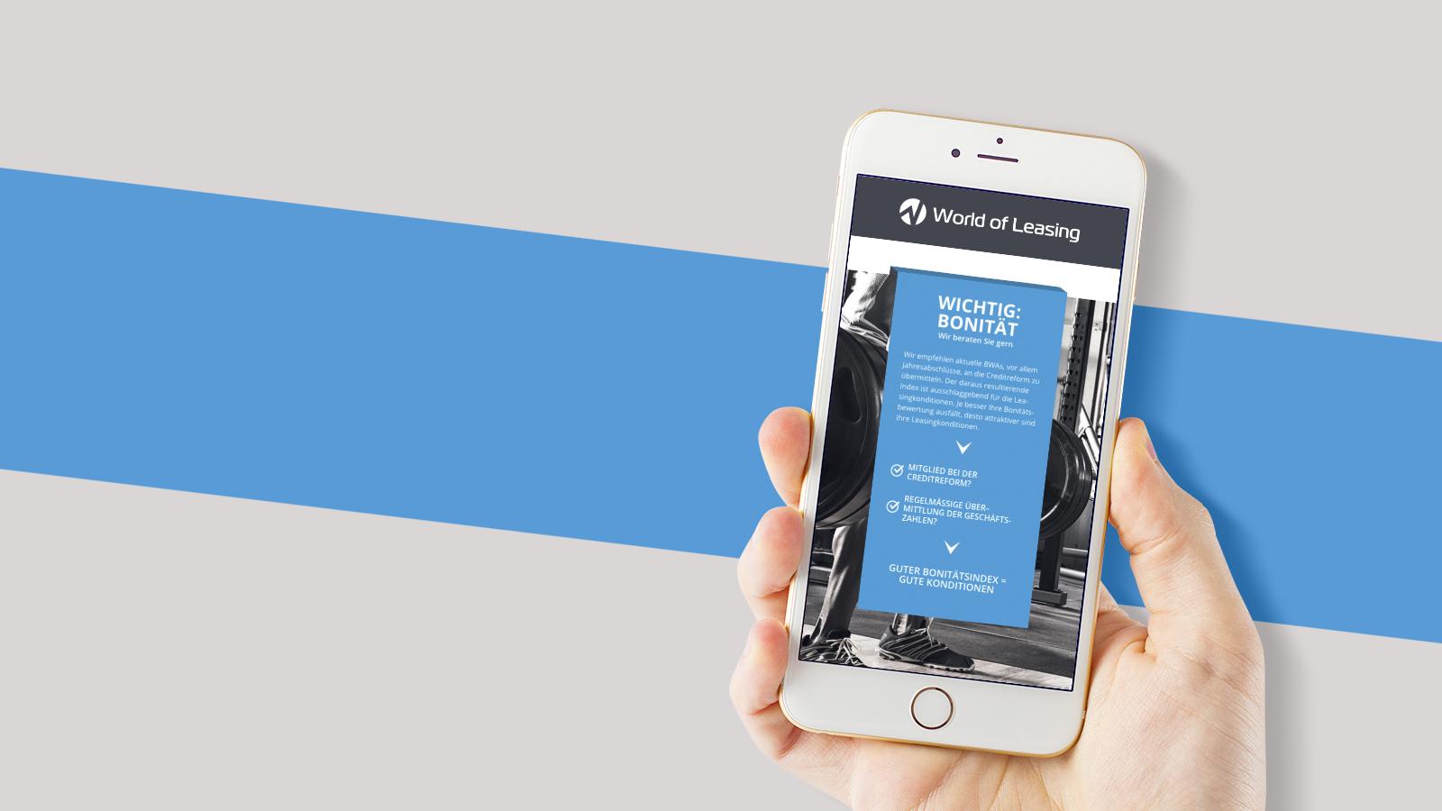 World of Leasing iPhone Website MockUp