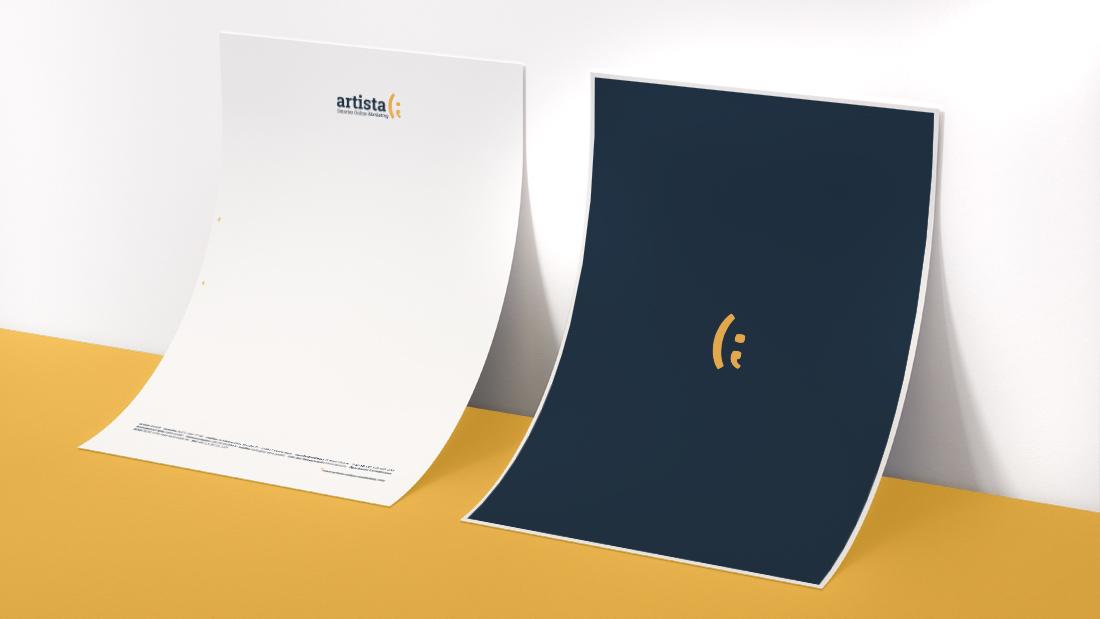 Artista Briefpapier Gelb und Weiß