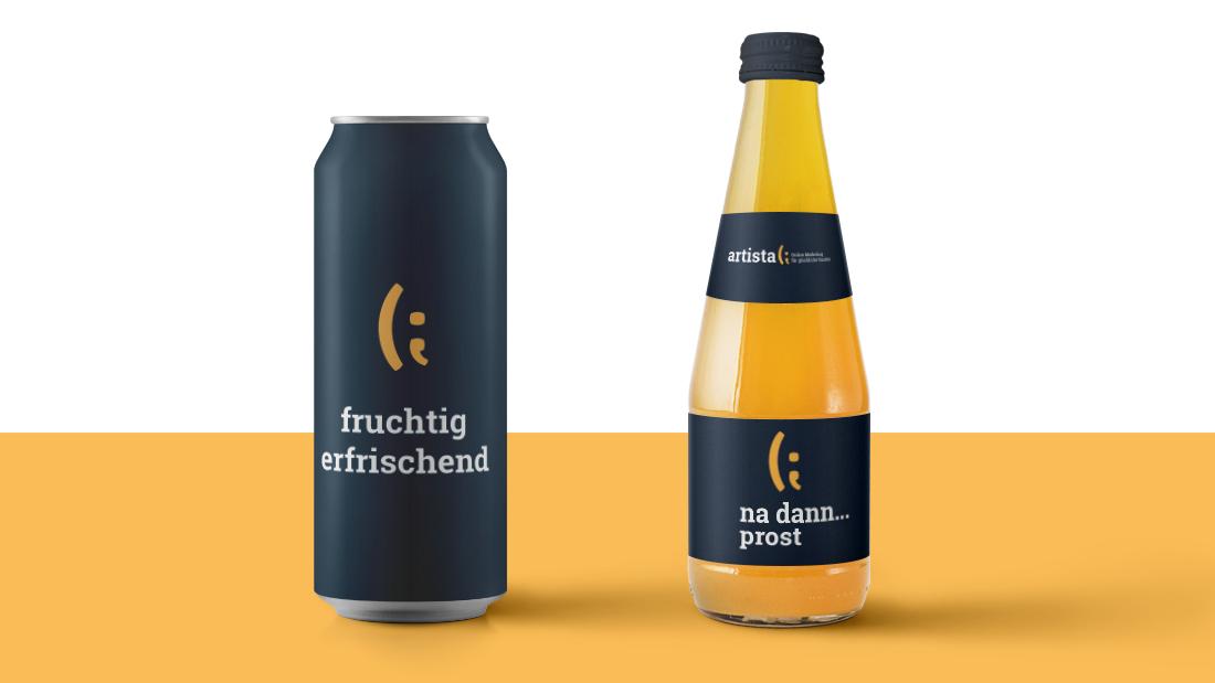 Artista Flasche und Dose Gelb und Weiß