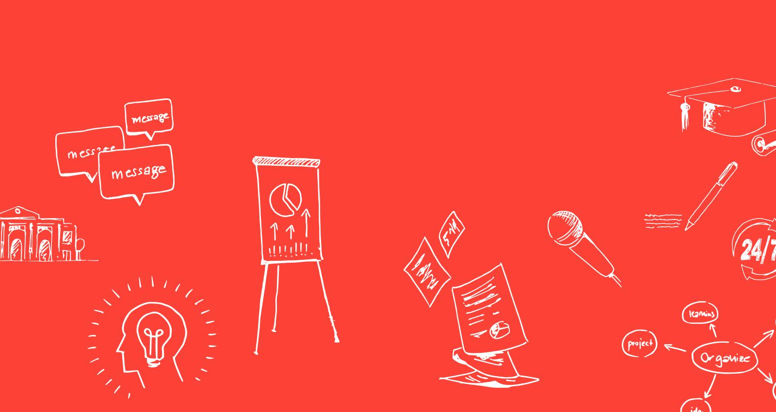Impulsplus Header rot Illustrationen