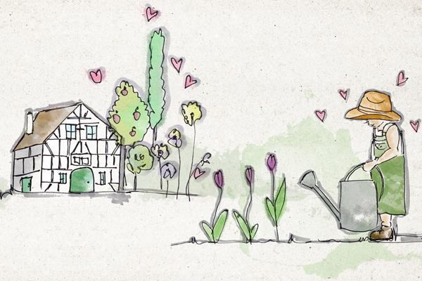 Gartencenter Selbach Illustration Mädchen gießt Blumen